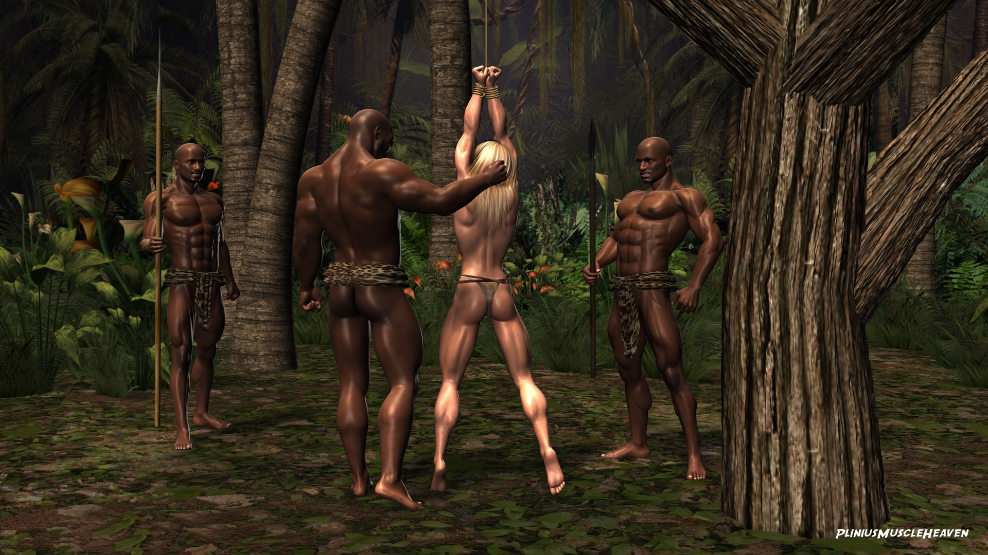 Naked jungle girl captured porno comic