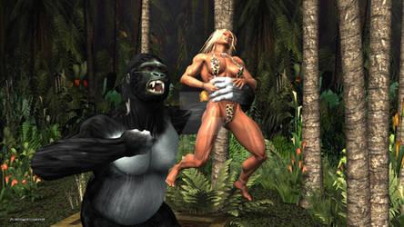Jungle Girl vs Gorilla by plinius