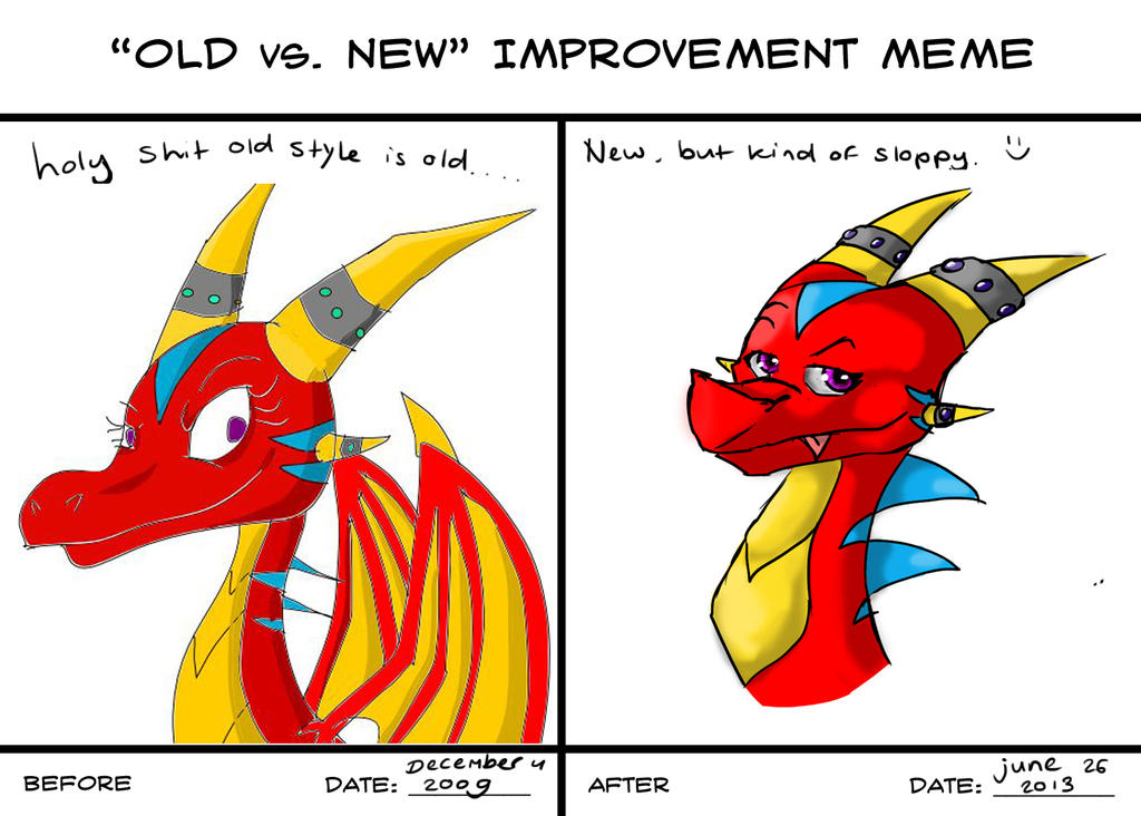 Old Vs  New Improvement Meme Filled In by Princess-Shannen