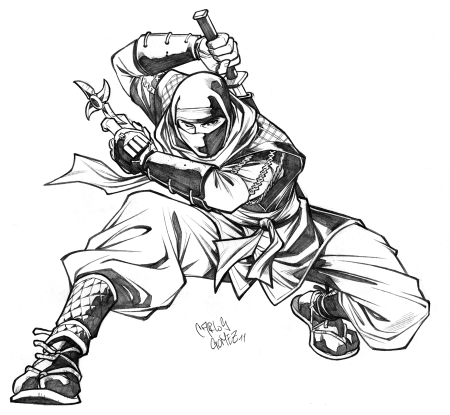Ninja sketch commission by CarlosGomezArtist on DeviantArt