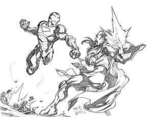 Iron Man VS Mandarin sketch commission