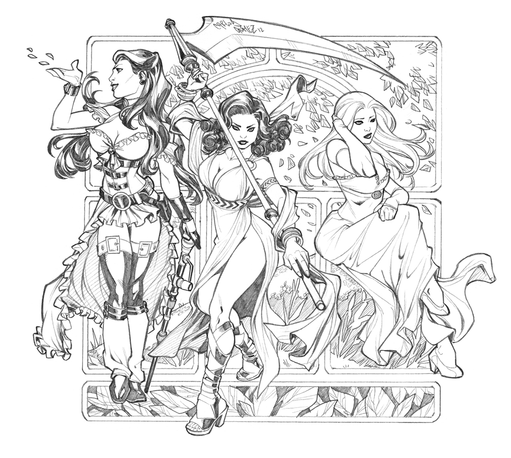 3 Girls- Sketch commission by CarlosGomezArtist