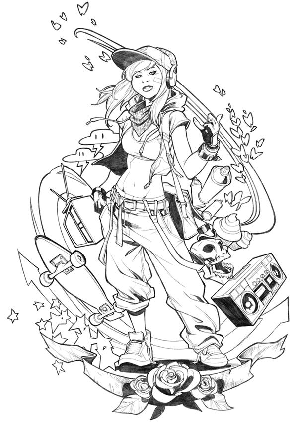 Punk Girl T-shirt design commission by CarlosGomezArtist
