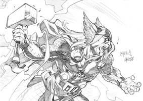 Thor sketch commisison by CarlosGomezArtist