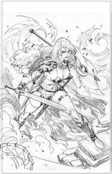 RED SONJA - Cover - sketch by CarlosGomezArtist