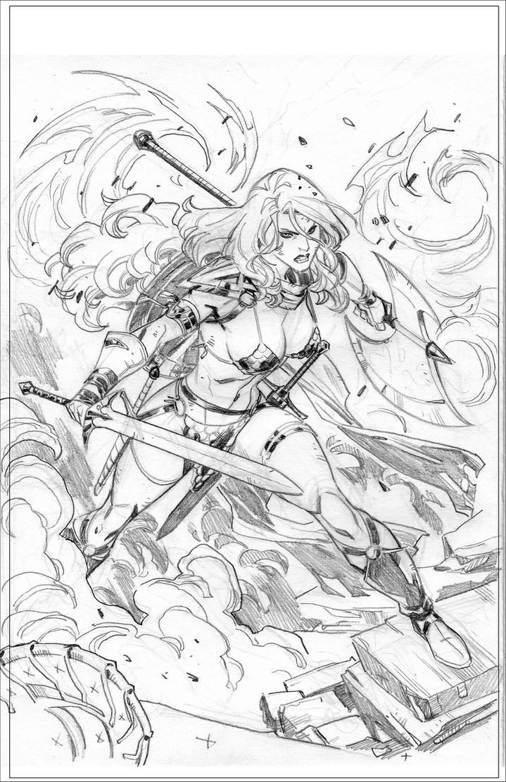 RED SONJA - Cover - sketch by CarlosGomezArtist