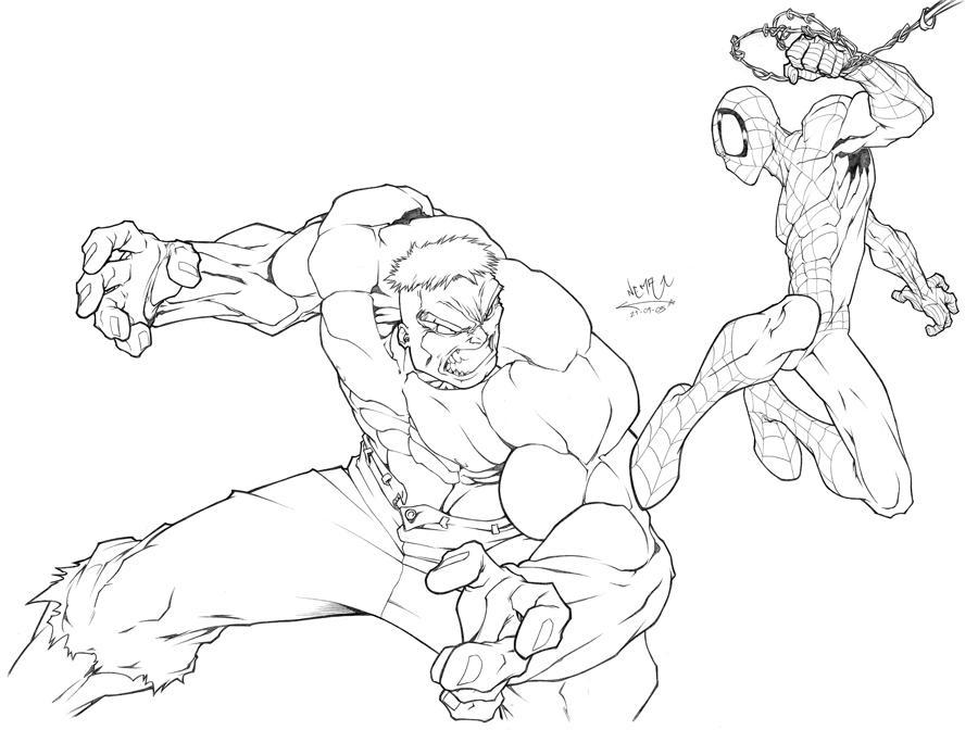 spiderman fighting coloring pages | Hulk vs Spidey by CarlosGomezArtist on DeviantArt