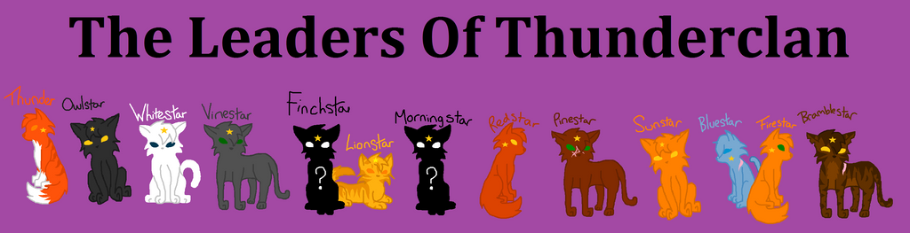 all leaders of thunderclan warrior cats by howlinghill
