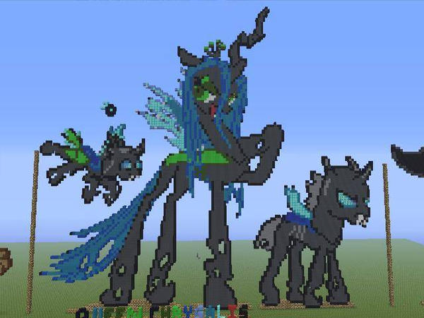 Minecraft Pixel Art Queen Chrysalis And Minions By