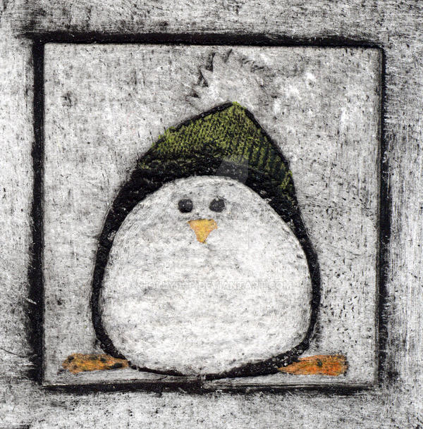 penguin christmas card print by HoLLyp0p