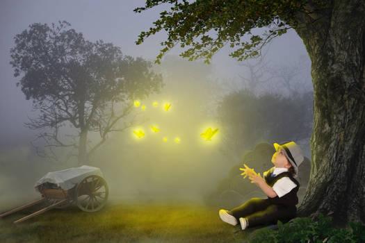 Night And Boy Under Tree