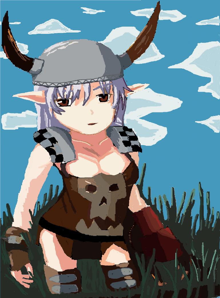Elf girl in orc gear by kingfret