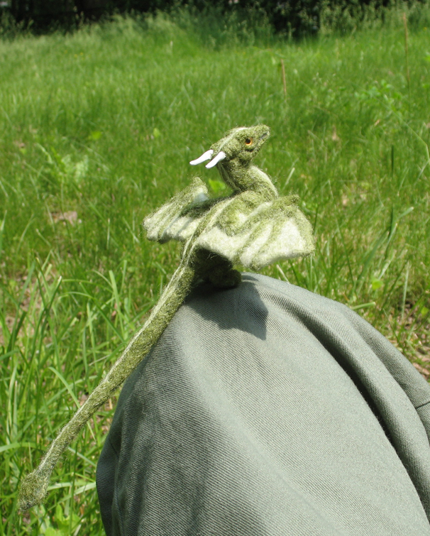 Needle Felted Green Dragon by tallydragon