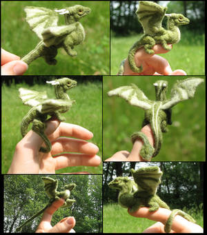 Felted green dragon collage