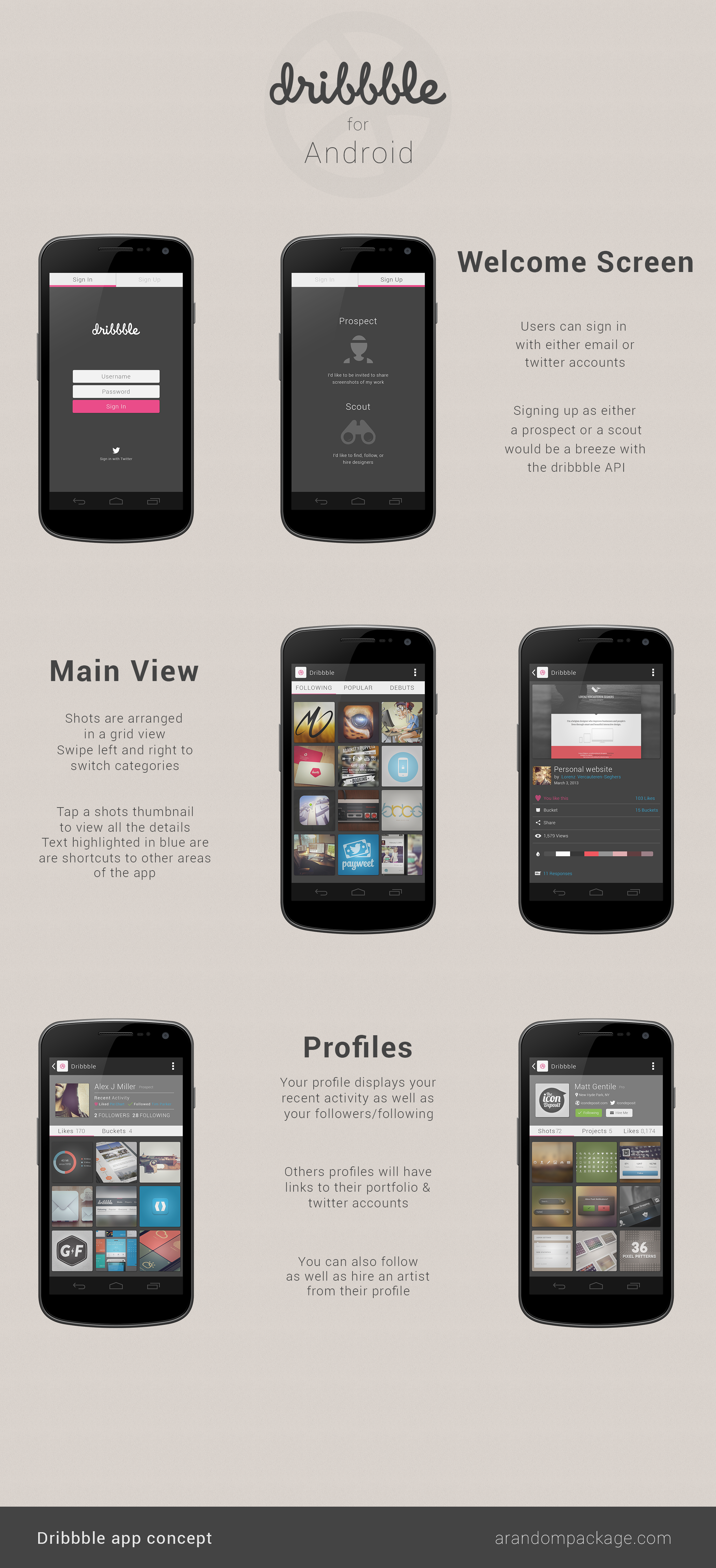 Dribble for Android Concept by AlexJMiller