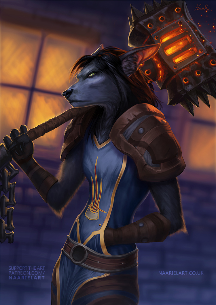 Worgen wielding The Black Hand by Naariel
