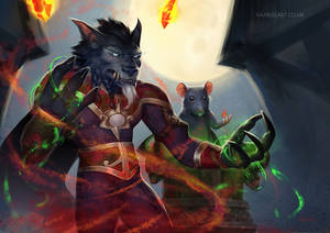 Worgen Warlock Werio and Tank the Rat [C]