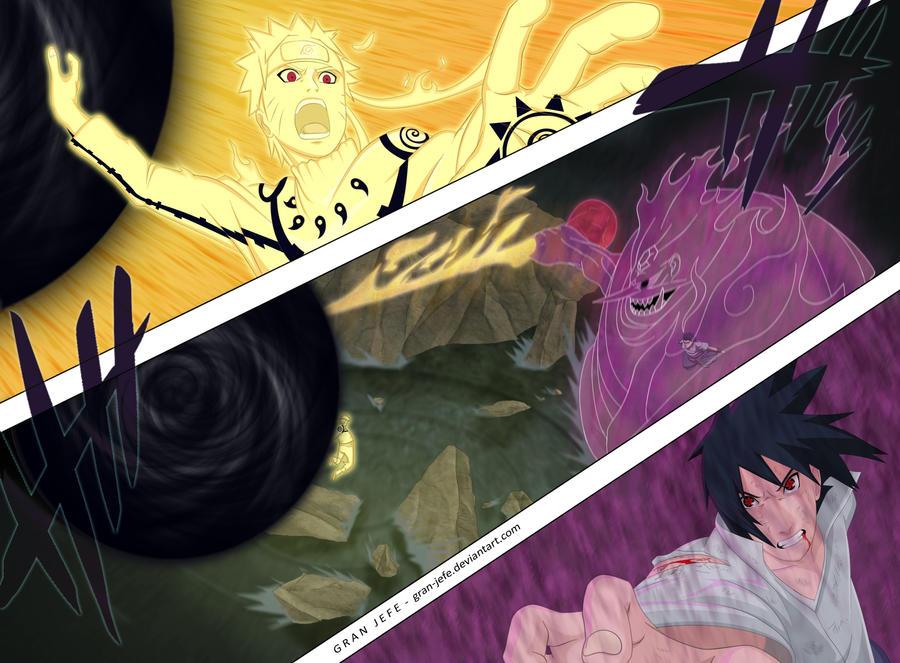 Naruto vs Sasuke Color by gran-jefe