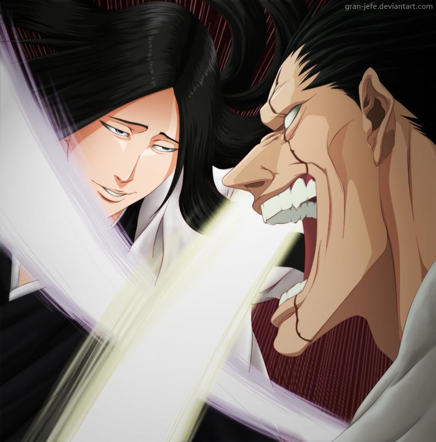 Kenpachi vs Unohana by gran-jefe