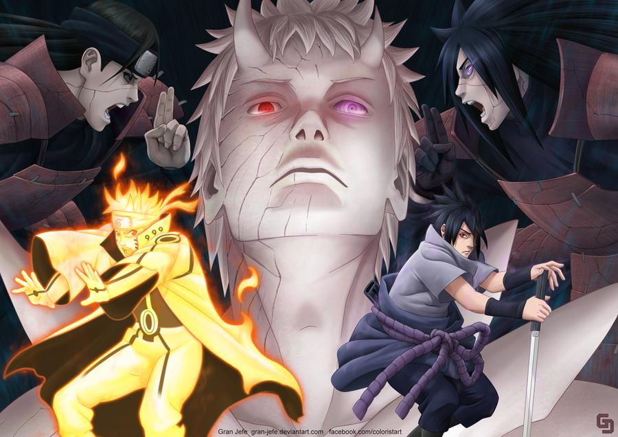 Naruto y Sasuke vs Obito by gran-jefe
