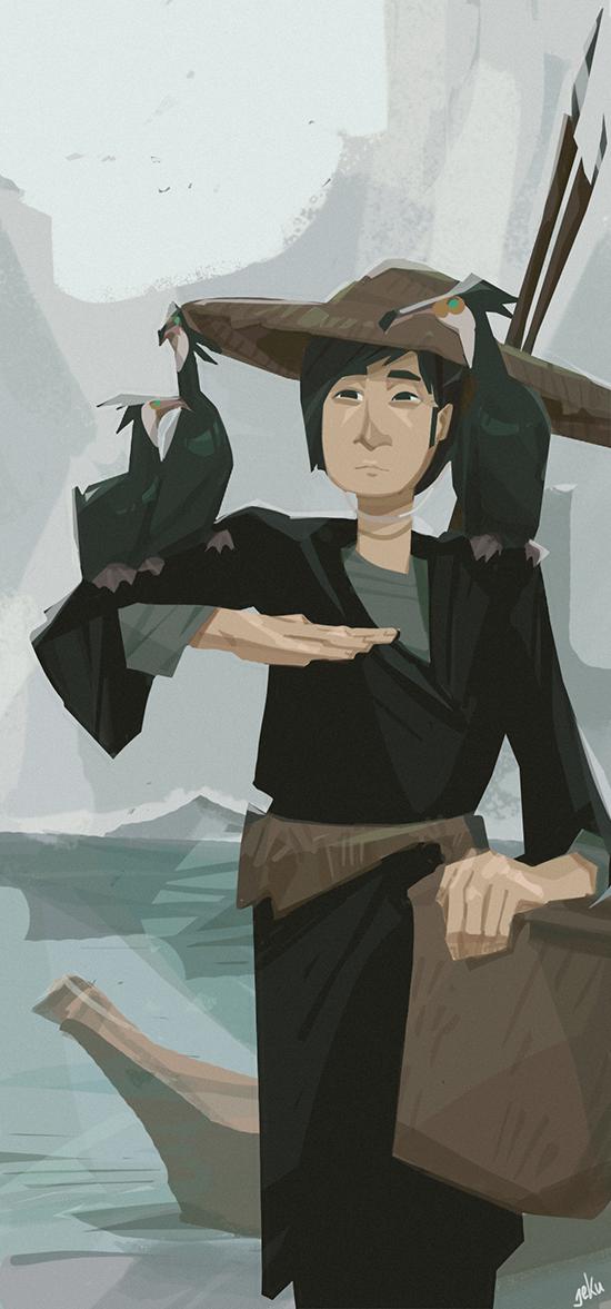 Fisherman and cormorants by Jekutoda