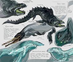 Fishy dinos from a dream by Jekutoda