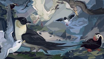 Shore birds by Jekutoda