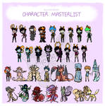 Updated OC List by AlleycatIrony