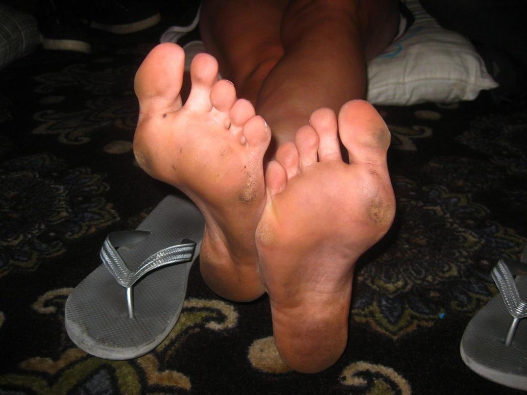 Dirty hood feet from walking barefoot 1
