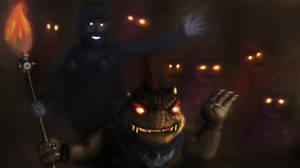Bowser Jr. Shadow Mario and Cosmic Clones