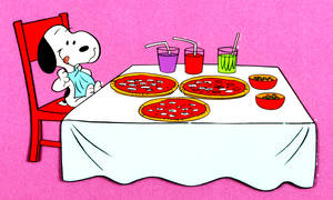 Snoopy Adora Comer Pizza by BradSnoopy97