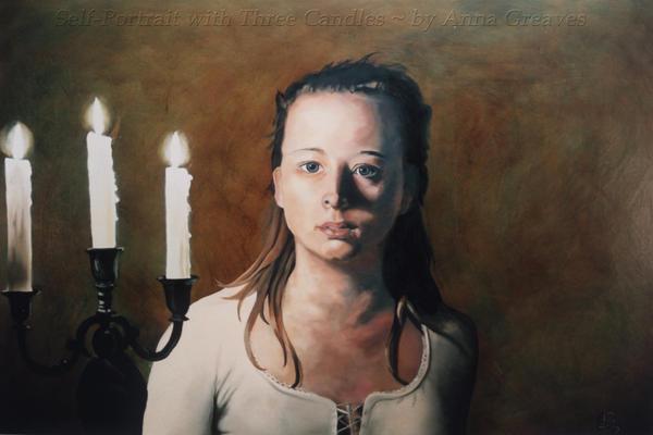 SelfPortrait with ThreeCandles by AnnaGilhespy