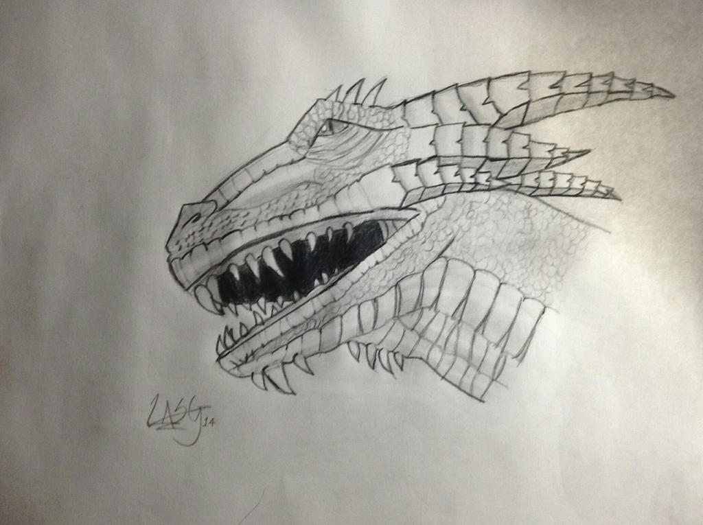 Dragon Head Sketch by RockingGamerGirl