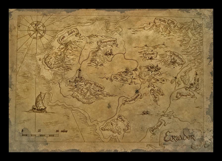 Bilbo's Map of Eriador by amegusa