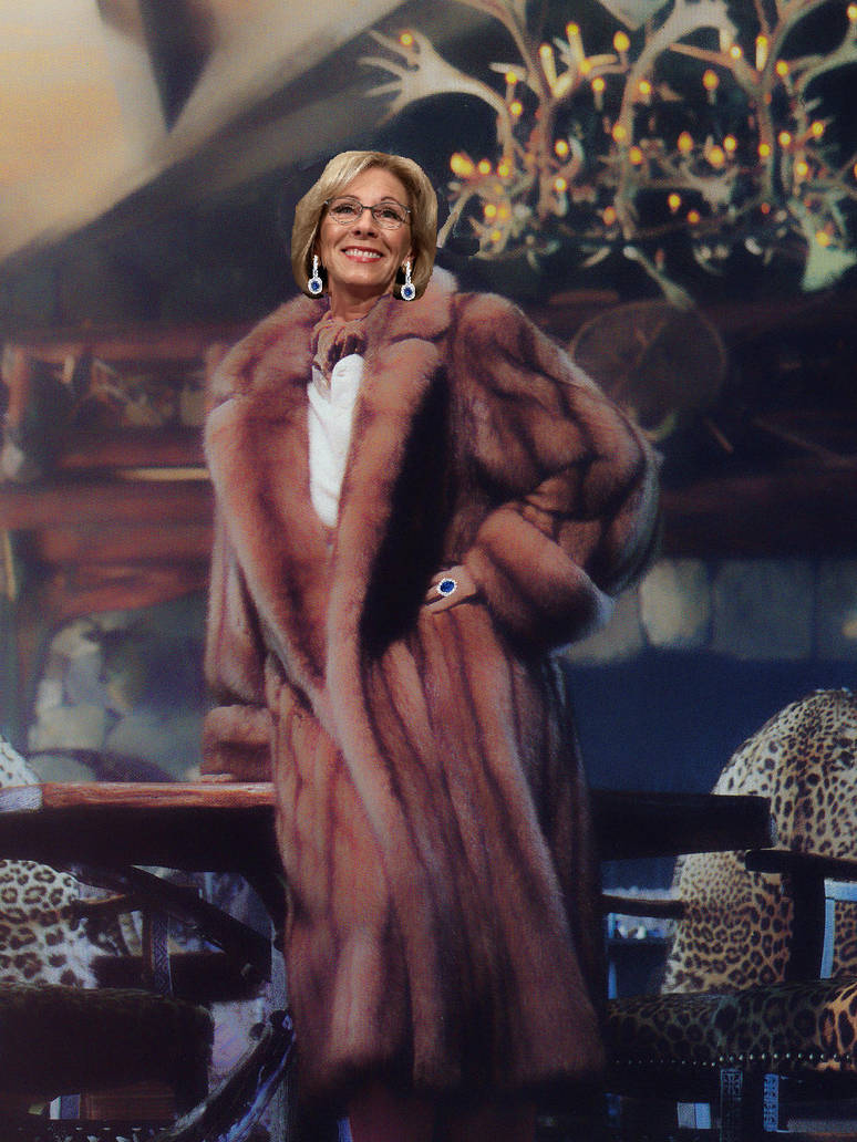 Betsy DeVos In Golden Sable At The Hunting Lodge by FurLover01