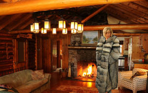 Big Raccoon Coat In A Romantic Cabin by FurLover01