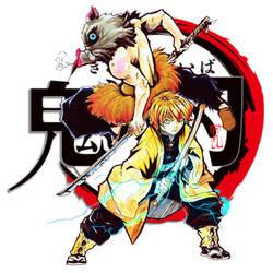 Demons Slayer Inosuke e Zenitsu