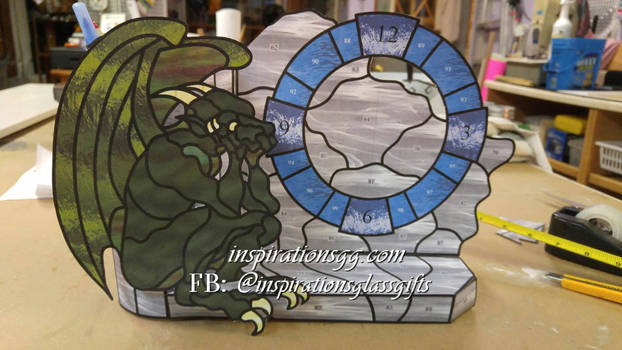 Gargoyle 3D Stained Glass Clock