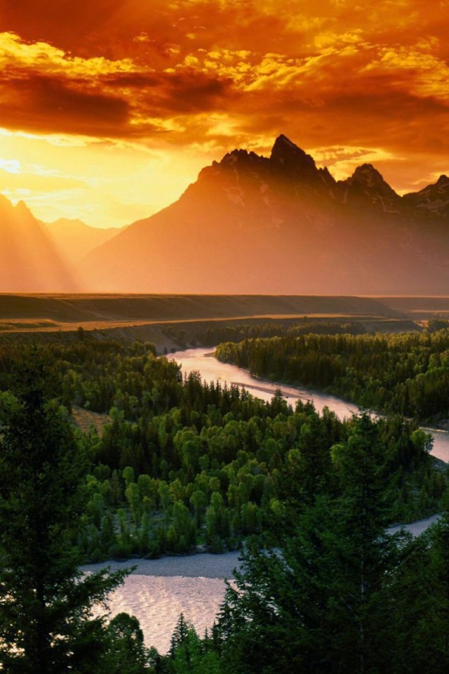 Mountain Lake Sunset IPhone 6 Plus Wallpaper