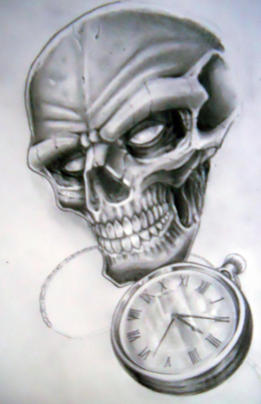 skull and pocket watch by karlinoboy on deviantart. Black Bedroom Furniture Sets. Home Design Ideas