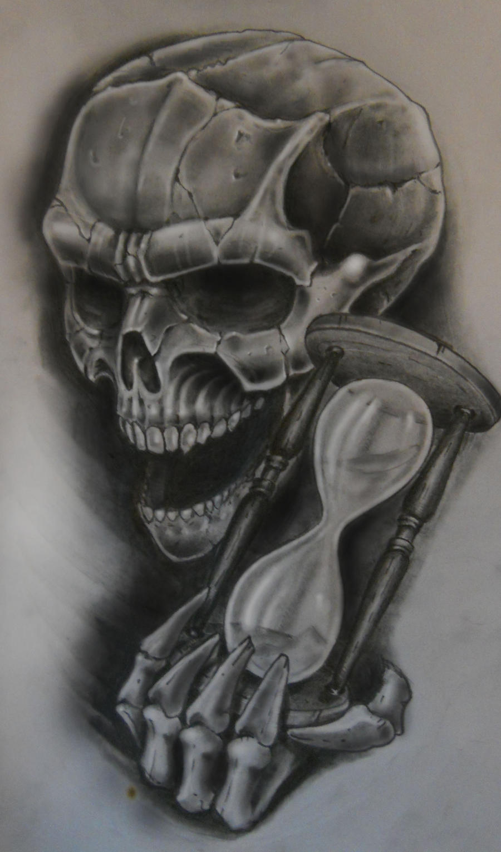 Skull n hourglass by karlinoboy on deviantart for Skull hourglass tattoo