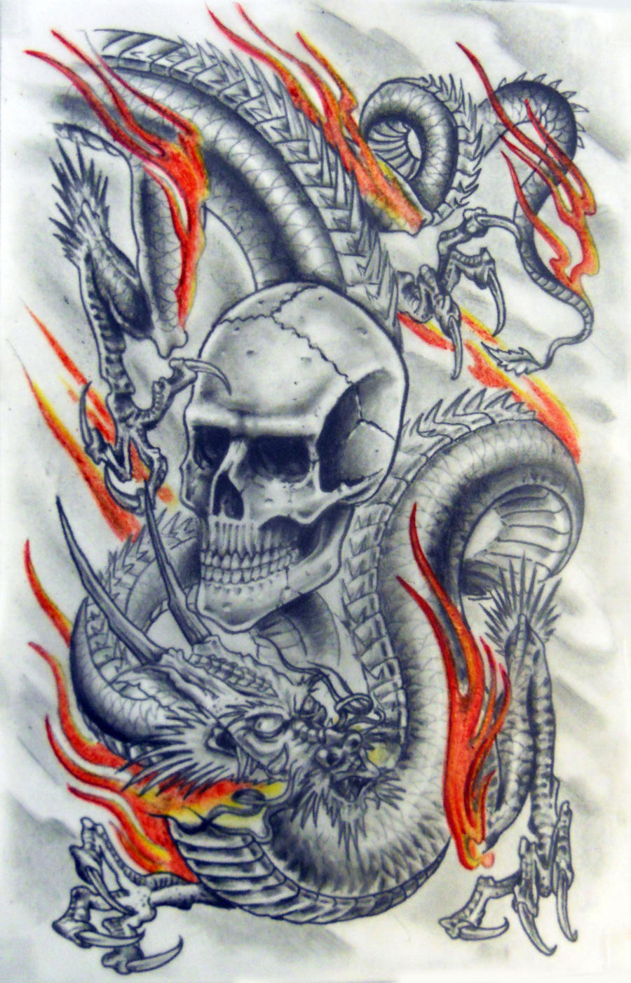 dragon and skull by karlinoboy