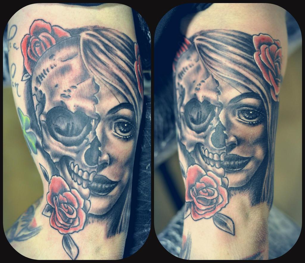 half face half skull by karlinoboy on deviantart