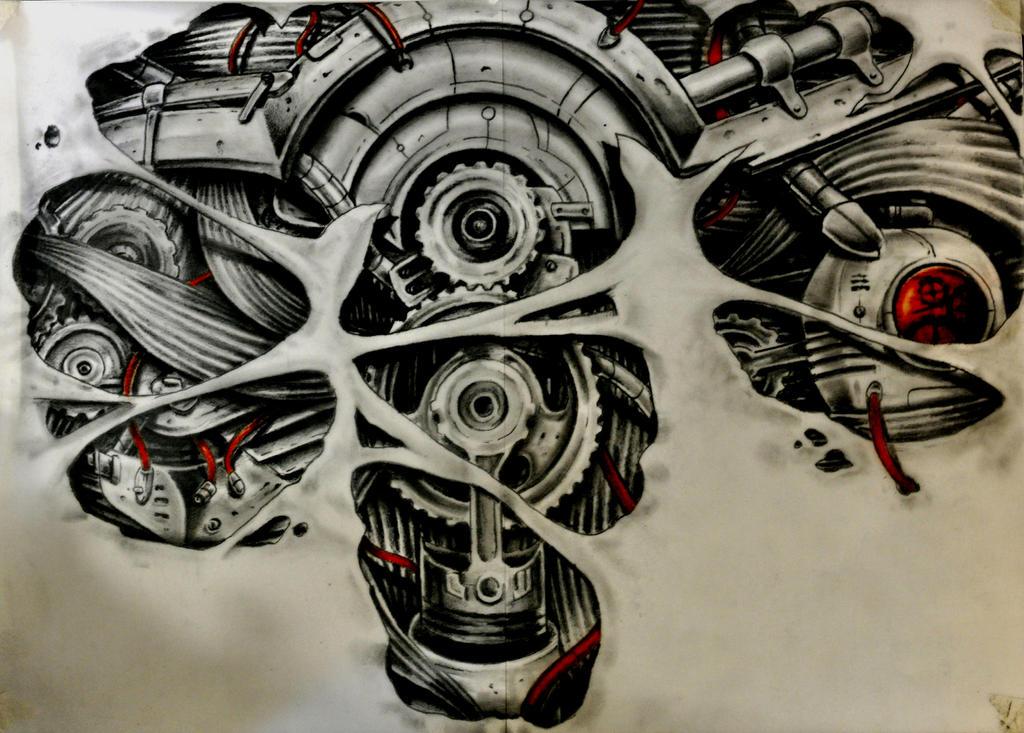 Biomechanical Gears Drawings gears and muscules byBiomechanical Gears Drawings