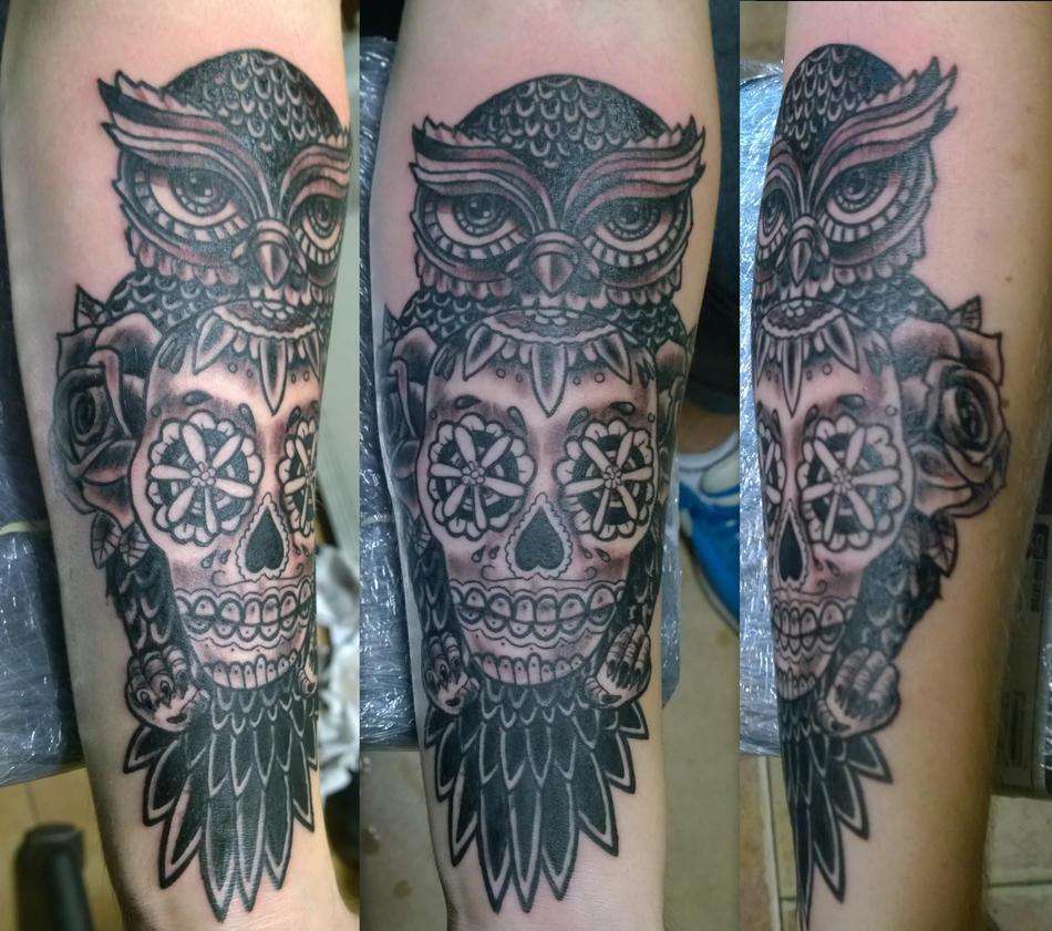 owl and sugarskull by karlinoboy