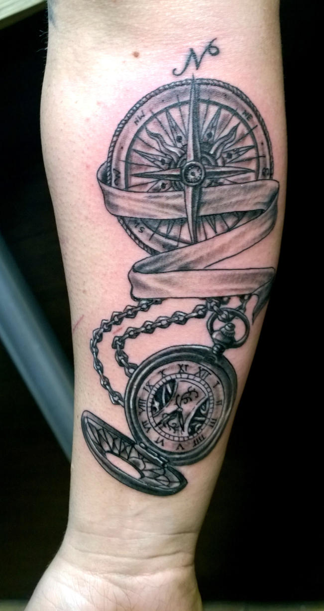 compass rose and pocket watch by karlinoboy