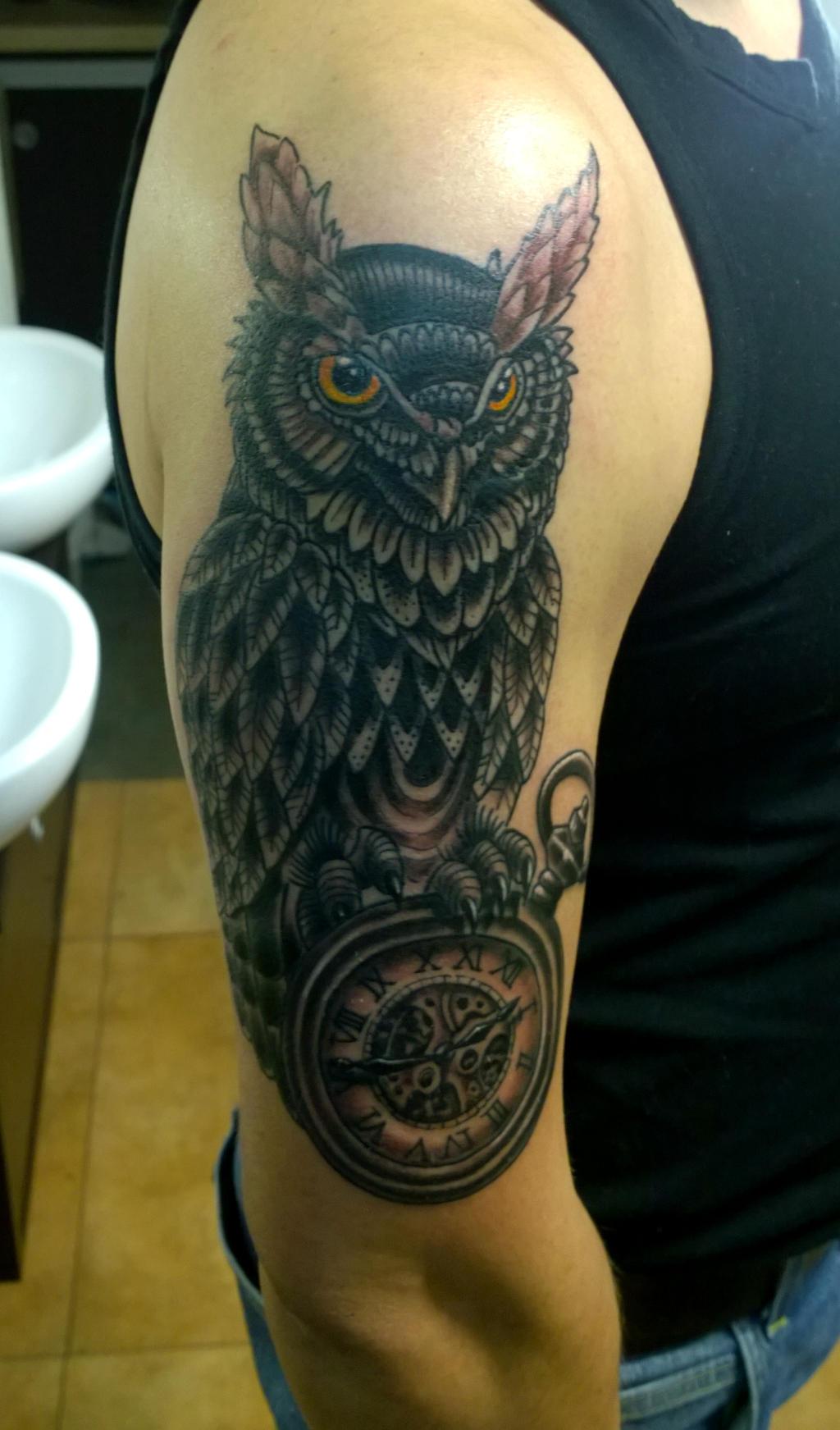 Pocket Watch Owl Tattoo owl and pocket watch b...