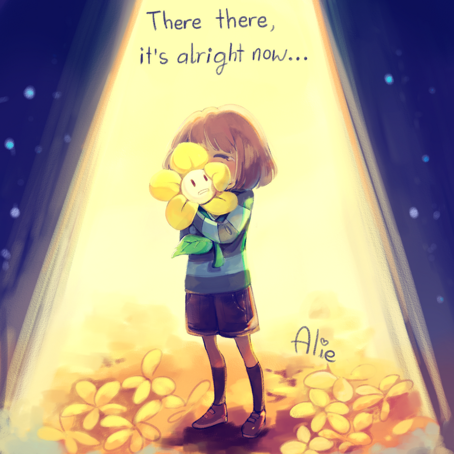Frisk and Flowey by Alie-Reol