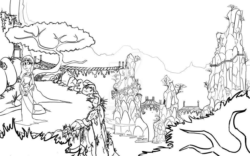 Line Art Landscape : Project china landscape lineart by lkanimator on deviantart