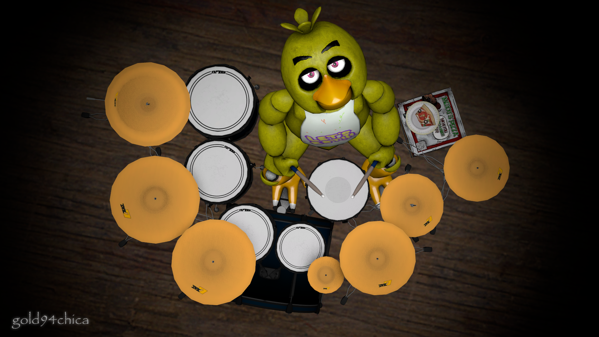 Chica s drumset sfm wallpaper by gold94chica on deviantart